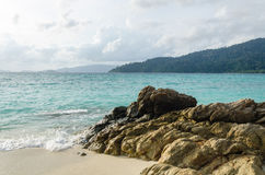 Beach with rock at lipe island thailand Royalty Free Stock Image