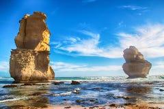 Beach. Rock pillars or 'Apostles' at a beach at Gibson's steps near Melbourne, Australia Royalty Free Stock Photos