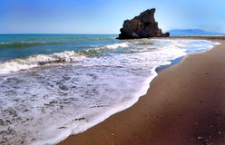 Beach of the Rock, Playa de la Roca in Malaga (Spain) Stock Photo
