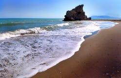 Beach of the Rock, Playa de la Roca in Malaga (Spain) Stock Photo
