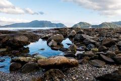 Beach rock scenery. Beautiful rock beach at Marmaris royalty free stock photo