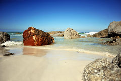 Beach Rocks. Noordhoek Beach near Cape Town, these rocks are on the Chapman's Peak side of the beach Royalty Free Stock Image