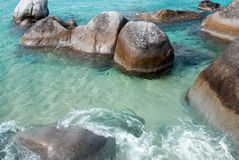 Beach Rocks. Giant rock formations in the Caribbean stock photos