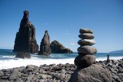 Beach rocks. Rocky beach on north coast of Madeira stock photo