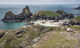Beach and rocks at Kynance Cove in Cornwall, England Stock Images
