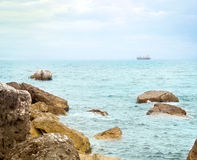 Beach with rocks in Montenegro, Sutomore royalty free stock photos