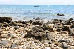 Beach rocks. Rocky beach. So much blue Stock Photo