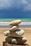 Beach rocks and the sky and clouds Royalty Free Stock Images