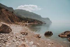 Beach rocky coast of the Black Sea. Royalty Free Stock Photography