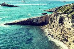 Beach and Rocky Coast, Ibiza, Spain Stock Photo