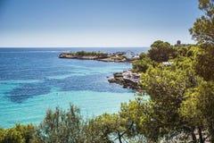 Beach and Rocky Coast, Ibiza, Spain Royalty Free Stock Photos