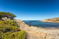 Beach and rocky coastline of north Corsica Royalty Free Stock Images