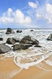 Beach with rolling waves in Sanya, Hainan Island, China Royalty Free Stock Photos