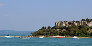 Beach and Roman Ruins Sirmione, Lake Garda, Italy Stock Photos