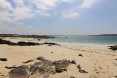 Beach in Roundstone, co. Galway, Ireland. Beautiful white sand beach in Connemara on a sunny day stock photos