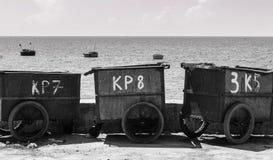 At the beach. The rubbish bin at a fish port of Phan Rang, Vietnam Stock Photos