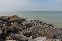 A beach of rubble in brick, wall and other. A beach of rubble in brick, wall Royalty Free Stock Images