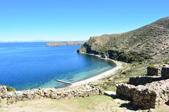Beach and ruins of Isla del Sol island, in Titicaca Lake, Bolivia Royalty Free Stock Photo