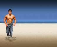 Beach run stock photo