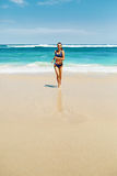 Beach Run. Fitness Woman In Bikini Running In Summer Royalty Free Stock Photography
