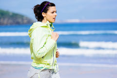 Beach running woman Royalty Free Stock Photography