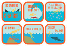 Beach safety signs Royalty Free Stock Image