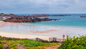 Beach Saint-Guirec and Cote de Granit Rose, Ploumanac'h, Brittan. Y (Bretagne), France Stock Images