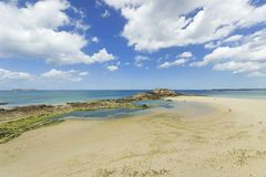 Saint-Malo. Beach in Saint-Malo, in Brittany, France Royalty Free Stock Photos