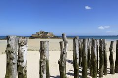 Saint-Malo. Beach in Saint-Malo, in Brittany, France Royalty Free Stock Photo