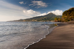 Beach of Saint Pierre, Martinique. And Montagne Pelee in the background stock photography