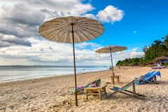 Sun time on Koh Lanta. Beach in Sala Dan on Koh Lanta. Sunny day on the beach with the view to Andaman Sea. Photo taken in January 2017 Royalty Free Stock Photography