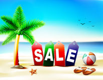 Beach Sale in Tags with Palm Trees beside the Starfish and Beach Ball Royalty Free Stock Photography