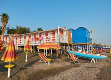 Beach of Salerno with beach huts. Campania, Italy. Stock Images
