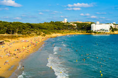 Beach in Salou with blue sky. Coastline at Costa Dorada Salou with copy space Royalty Free Stock Photography