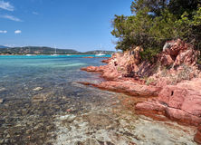 Beach of San Ciprianu. The beach of San Ciprianu in the south of Corsica is famous for its crystal clear water Royalty Free Stock Photo