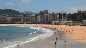Beach in San Sebastian, Spain stock video