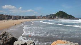 Beach in San Sebastian, Spain stock footage