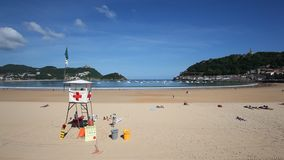 Beach in San Sebastian, Spain stock video footage