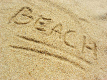 Beach on the sand. Beach scratched in the sand at the beach Royalty Free Stock Photos