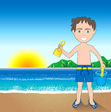 Beach Sand Boy Background Royalty Free Stock Images