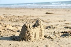 Beach sand castle Royalty Free Stock Images