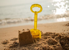 on the beach sand castle build Royalty Free Stock Images