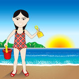 Beach Sand Chinese Girl Background Royalty Free Stock Photo