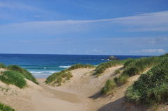 Beach and sand dune, Cornwall, England, UK. Royalty Free Stock Images