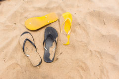 Beach Sand Feet Slippers Black Yellow Stock Photography