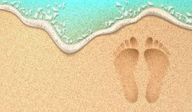Vector realistic human footprint on sea beach sand. Beach sand footprint ocean coast sea azure wave with bubble. Vector realistic illustration. Tropical travel Royalty Free Stock Images