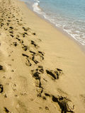 Beach sand and footprints Stock Image