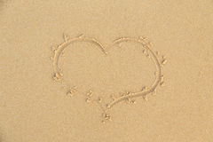 Beach sand heart sign Royalty Free Stock Photography