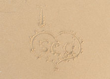 Beach sand heart sign Royalty Free Stock Photos