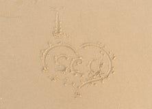 Beach sand heart sign Royalty Free Stock Photos
